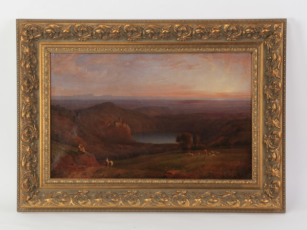 19th c. O/c of mountain sunset with figures