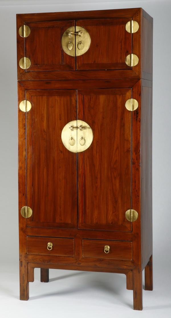 Chinese cabinet w/ brass hardware, 87