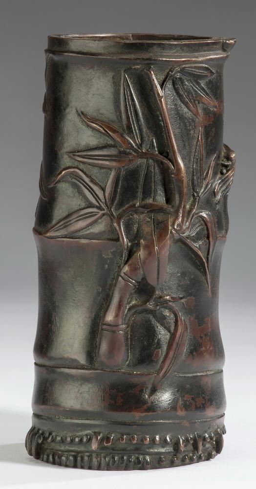 Chinese bronze bamboo and cicada brush pot, 7