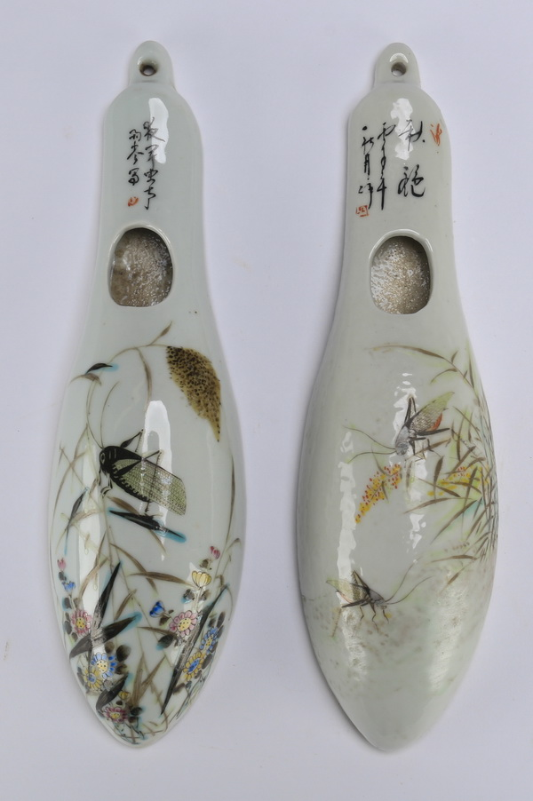 (2) Chinese wall vases w/ insects, 10