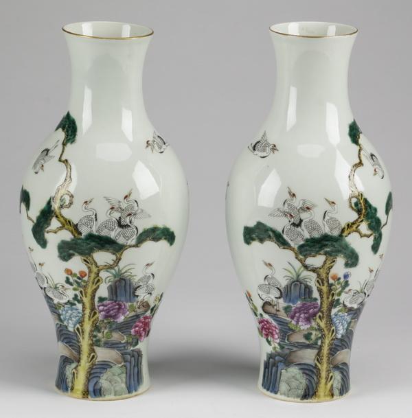 (2) Chinese crane vases, Qianlong mark, 12