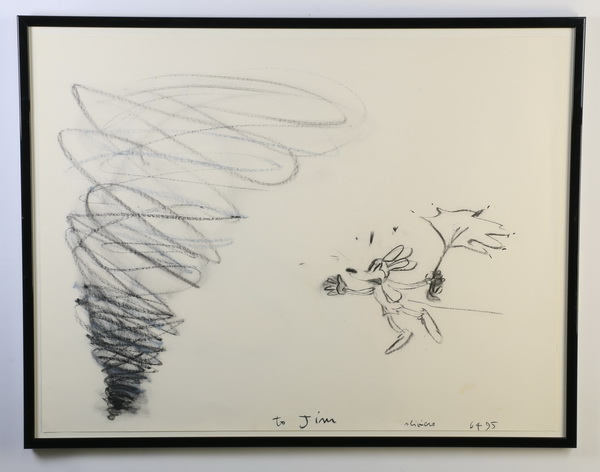 Oliviero Rainaldi (Italian) signed charcoal sketch