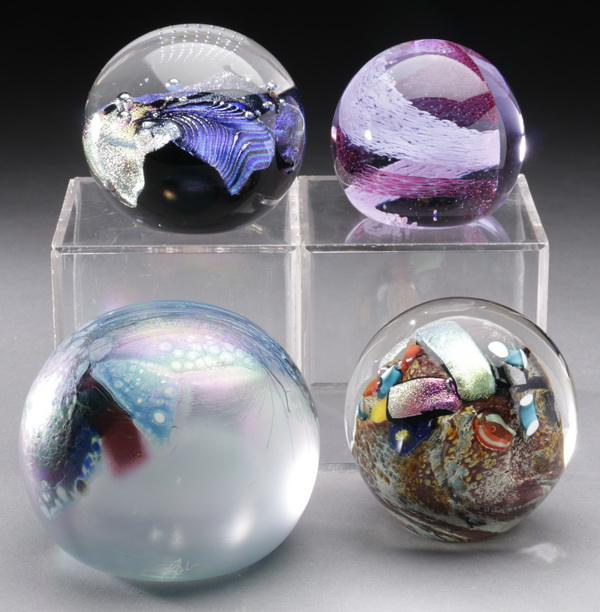 (4) Signed art glass paperweights, includes Caithness