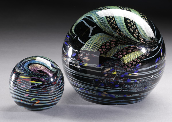 (2) Rollin Karg art glass paperweights, each signed