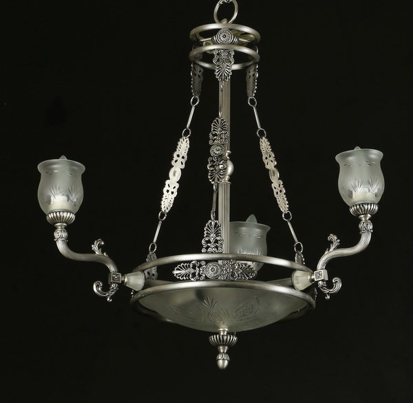 Italian pewter-finish chandelier with etched glass