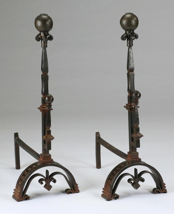 (2) Bronze andirons, 32