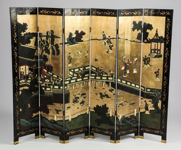 Chinoiserie style six panel double sided screen, 97