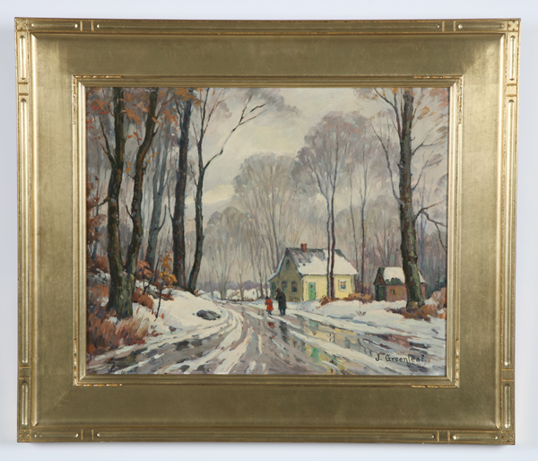 Jacob Greenleaf signed O/c, winter scene