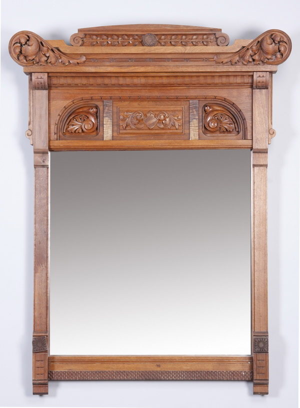 Early 20th c. American carved oak mirror