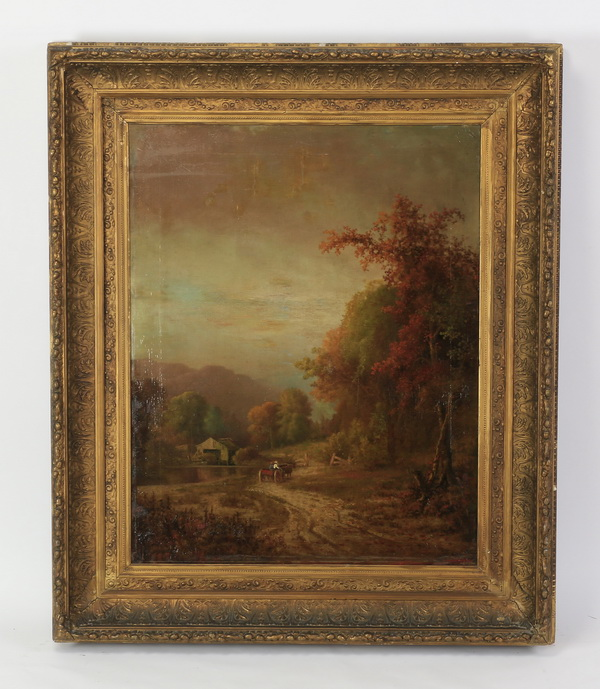 19th c. O/c autumn pastoral scene, signed