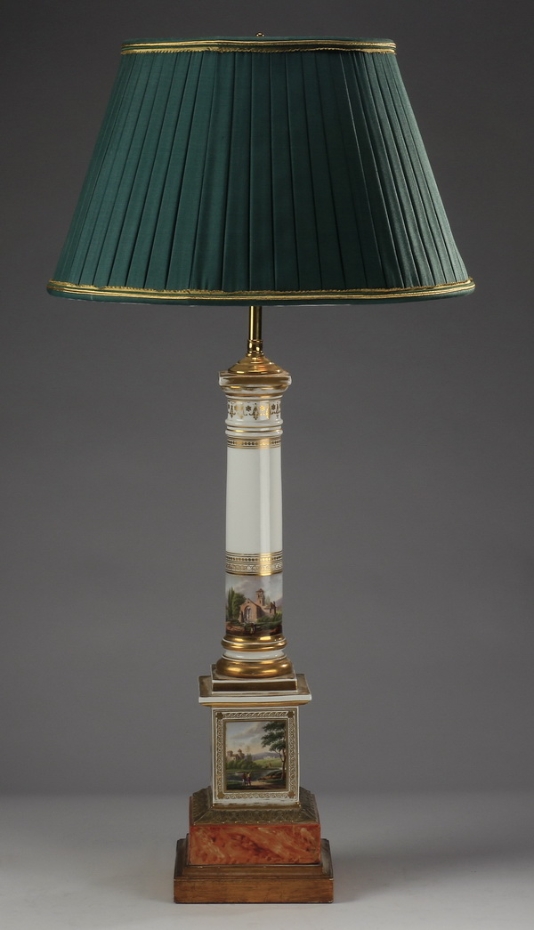 Old Paris porcelain columnar lamp, 33