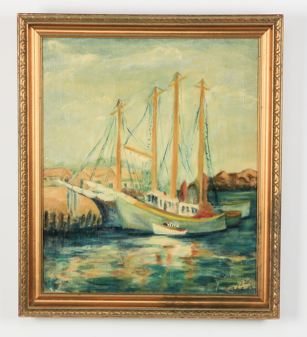 Mid 20th c. American O/c of two sailboats, signed