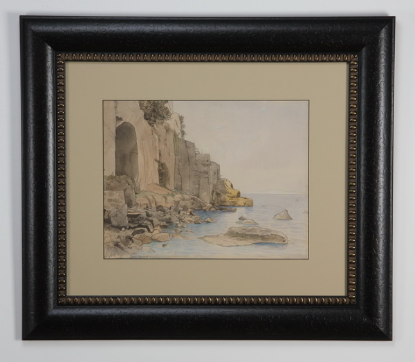 William Haseltine signed pen & ink seascape, 19th c.