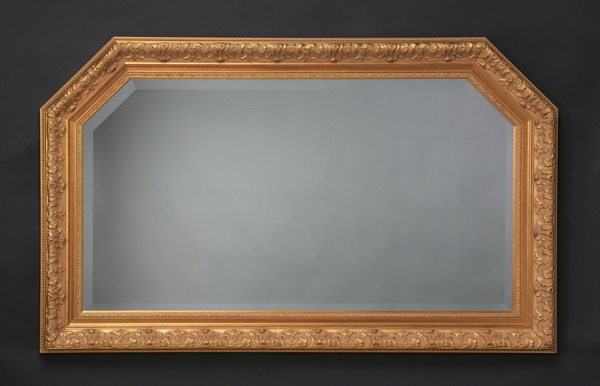 Italian beveled mirror with gilt wood frame