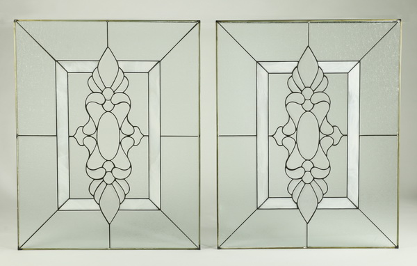 Pair of leaded glass panels, 40