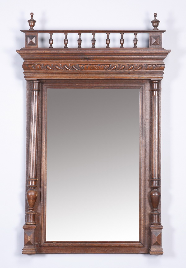 Early 20th c. carved oak mirror, 48