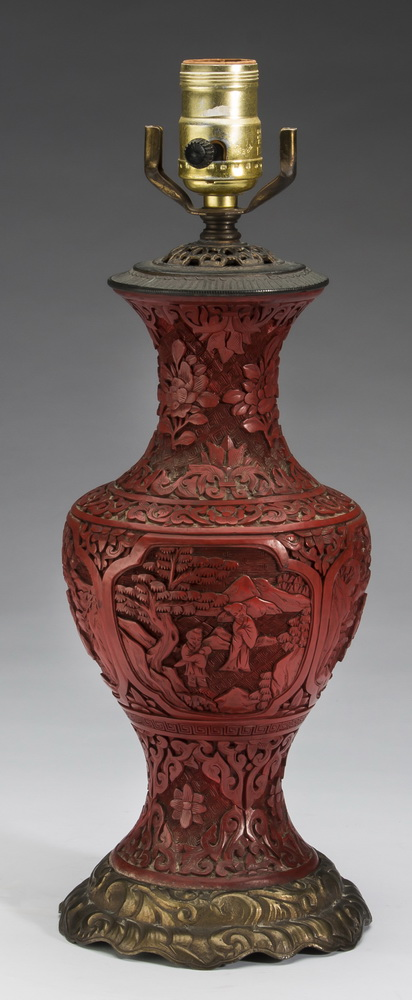 Chinese cinnabar lacquer vase mounted as a lamp, 14