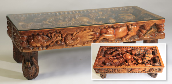 Carved Chinese zodiac table, 59