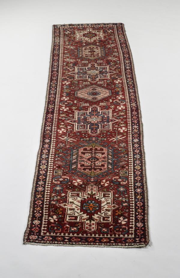 Hand knotted Persian Hamadan wool runner, 11' long