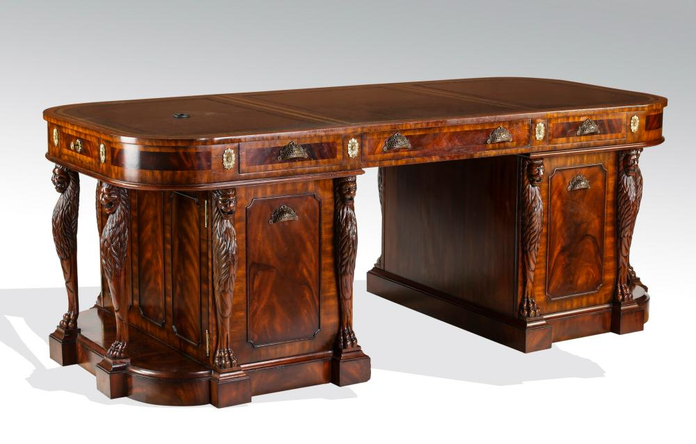 Maitland Smith Mahogany Partners Desk W Leather Top