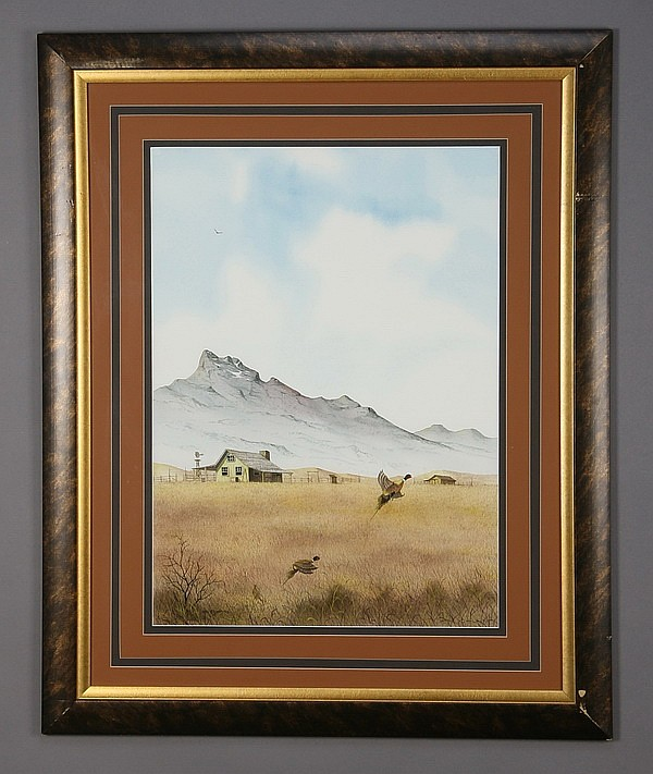 20th c. framed watercolor, signed