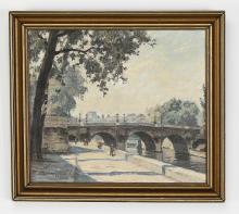 Walter Meinhardt signed O/c Parisian cityscape, 1931