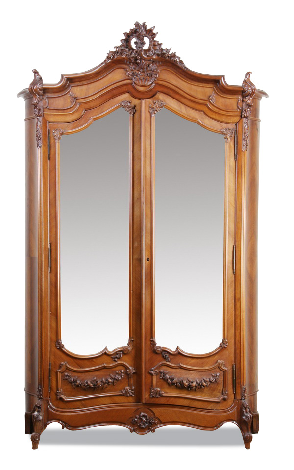 19th c French Rococo style walnut armoire, 103h -> Armoire Style Baroque