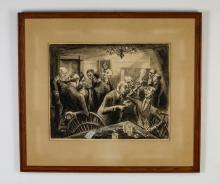Aaron Sopher mid 20th c. signed W/c parlor scene