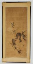 Hand painted Japanese scroll attributed to Mori Sosen
