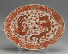 Chinese oval plate, dragon and phoenix motif
