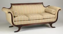 Empire style sofa in striped fabric, 80
