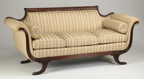 Empire Style Sofa In Striped Fabric 80 L