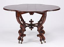 Carved mahogany gateleg table
