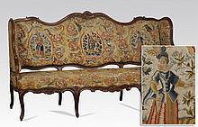 19th c. French carved canape' in needlepoint