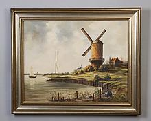 20th c. oil on canvas landscape