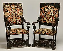 Pair of 19th c. carved oak arm chairs