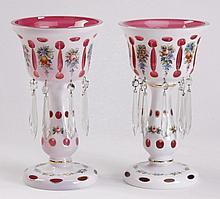 (2) Bohemian cased glass lustres