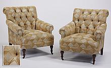 (2) Custom designed club chairs
