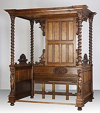 19th c. French carved oak canopy daybed