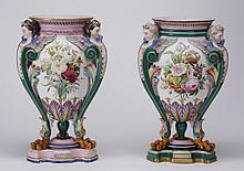 (2) Hand decorated porcelain urns