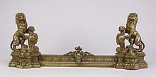 19th c. dore' bronze fireplace fender