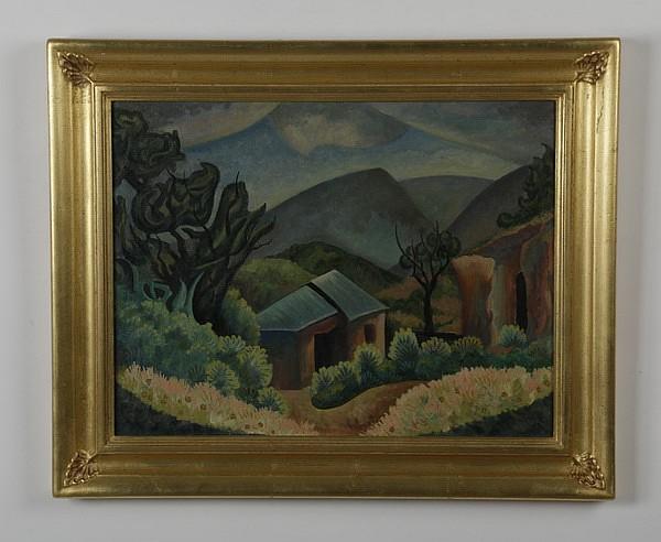 Willard Clark (American)signed O/c, landscape