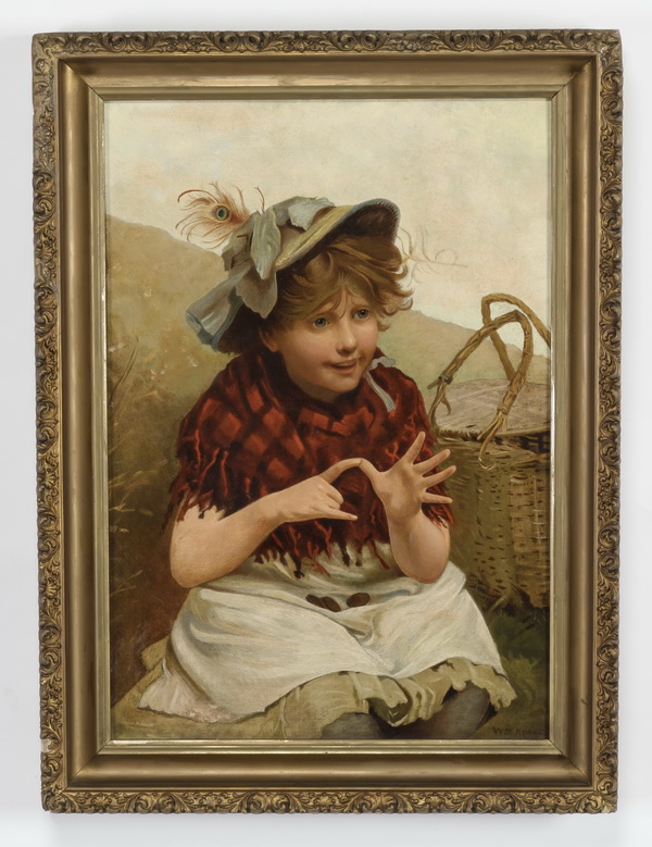 William Keane signed O/c, feather seller, 19th c.
