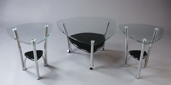 Contemporary glass chrome coffee table 36 w for Coffee table 48 x 36