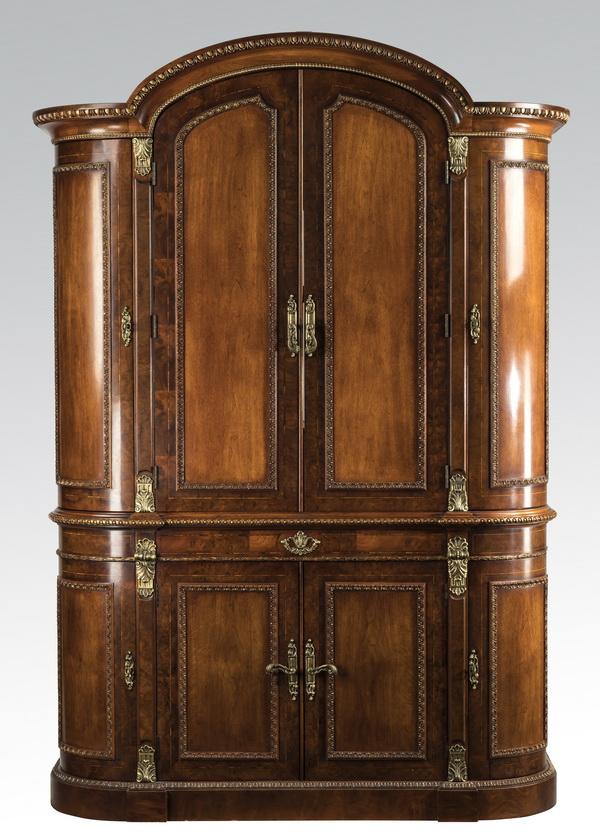 "Henredon Neoclassical style mahogany armoire, 85""h"