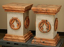 Pair of 20th c. carved marble pedestals