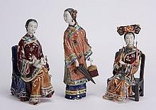 (3) Chinese Sekwan ceramic figurines