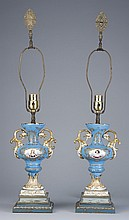 (2) Early 20th c. Sevres style lamps