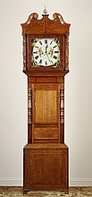 19th c. American oak grandfather clock