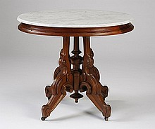 19th c. American Victorian marble top table